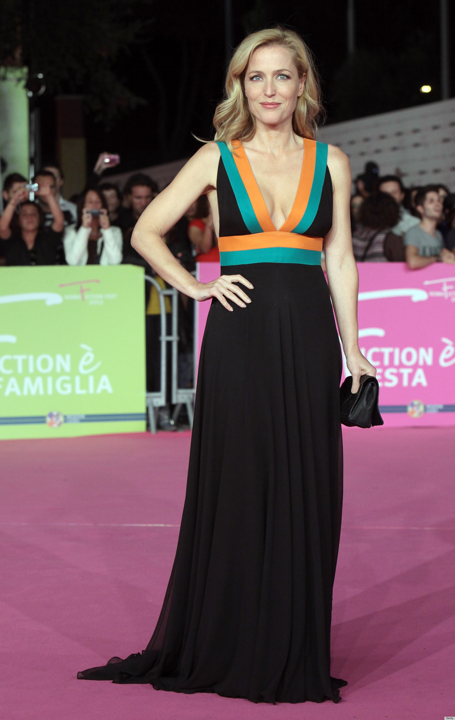 gillian anderson sizzles in plunging neckline in rome photos