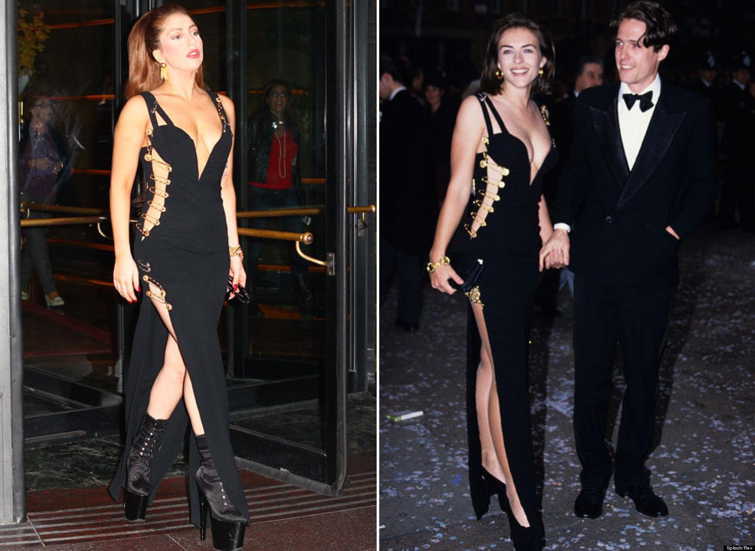 Liz hurley versace dress - Lady Gaga Channels Liz Hurley In Safety Pin Frock Pics Huffpost Uk