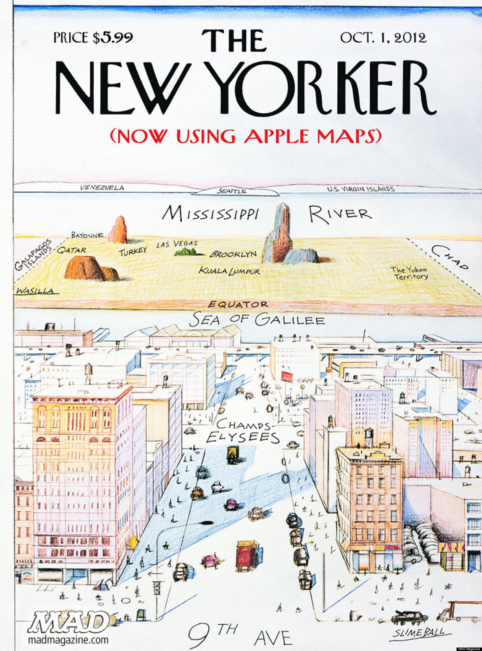 Apple Maps Screws Up New Yorker Cover In Mad Magazine Parody Picture Huffpost