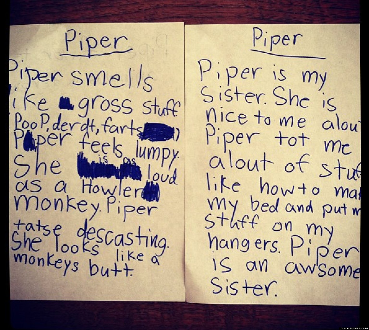 Cute Kid Note Of The Day: Sisterly Love?