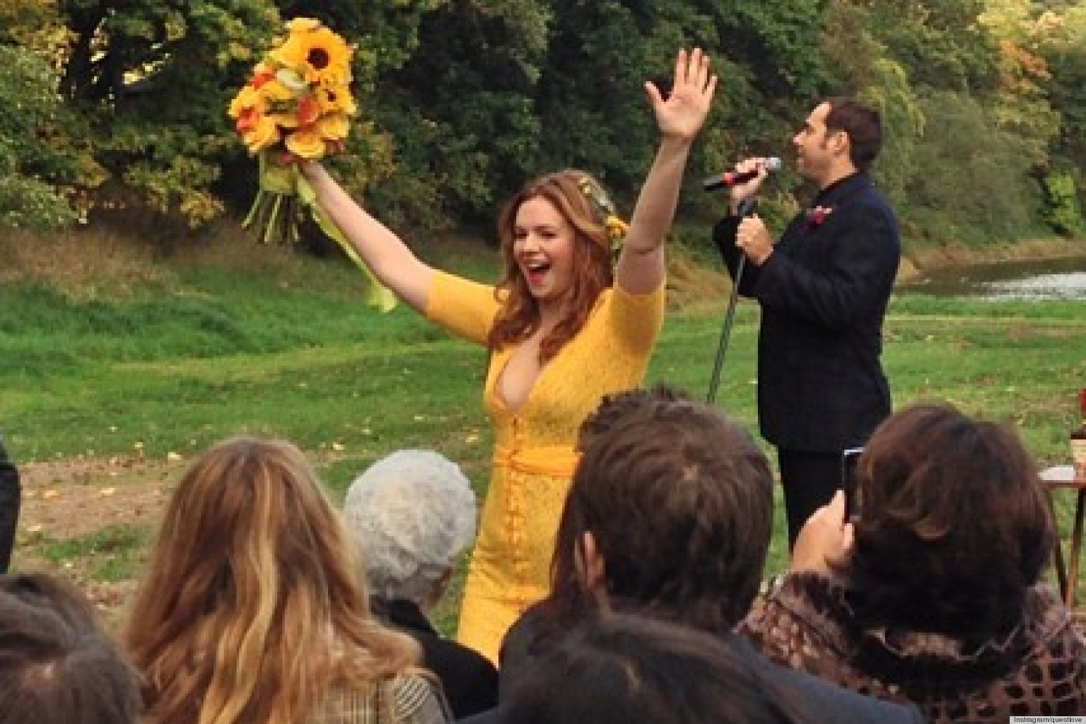 Amber Tamblyn Dress Is Yellow And Pink And Green The