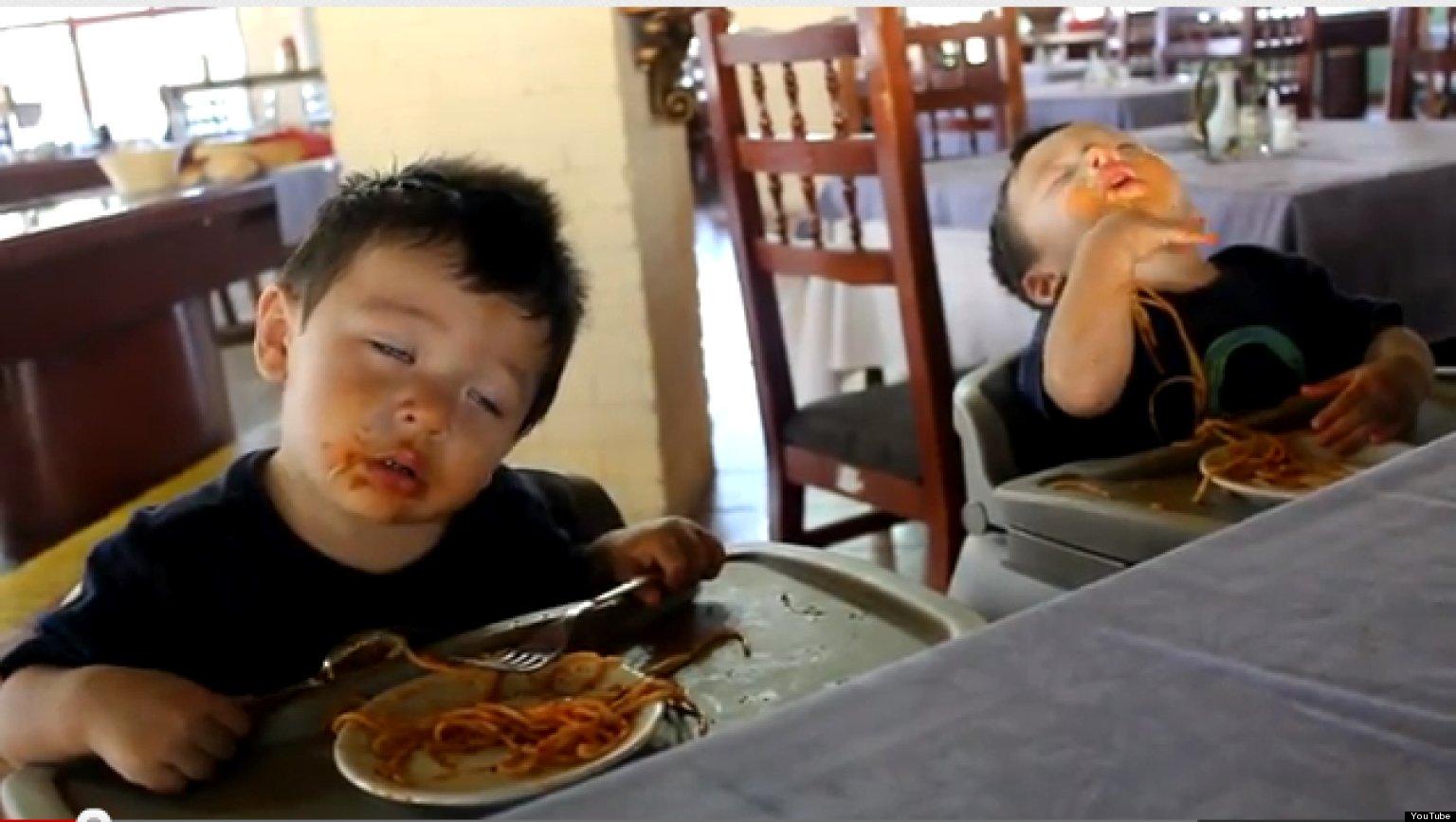 Sanskrit Of The Vedas Vs Modern Sanskrit: Twins Fall Asleep Eating Spaghetti (VIDEO)