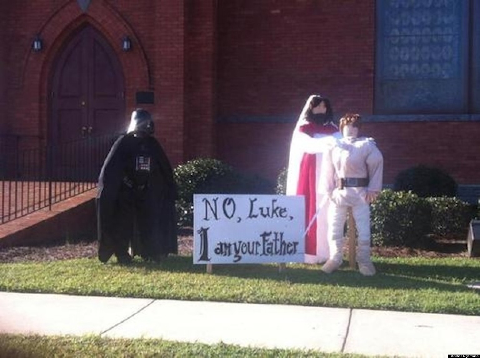 churchs halloween display is awesome photo huffpost - Christian Halloween Decorations