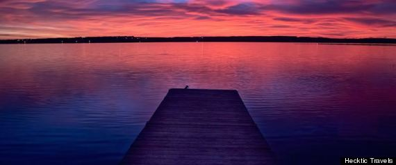 DOCK IN ALBERTA AT SUNSET