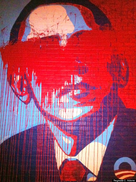 obama mural vandalism