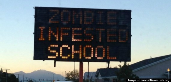 zombie infested school sign