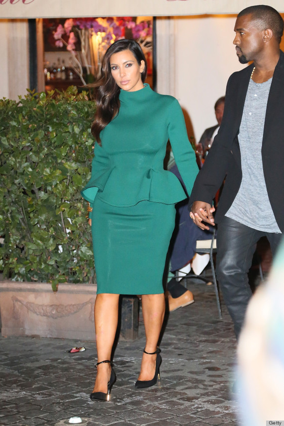 Kim Kardashian S Green Peplum Dress Gets An A For Effort