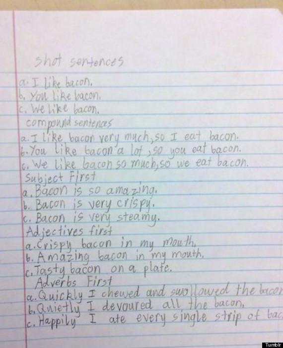 funny kid note bacon