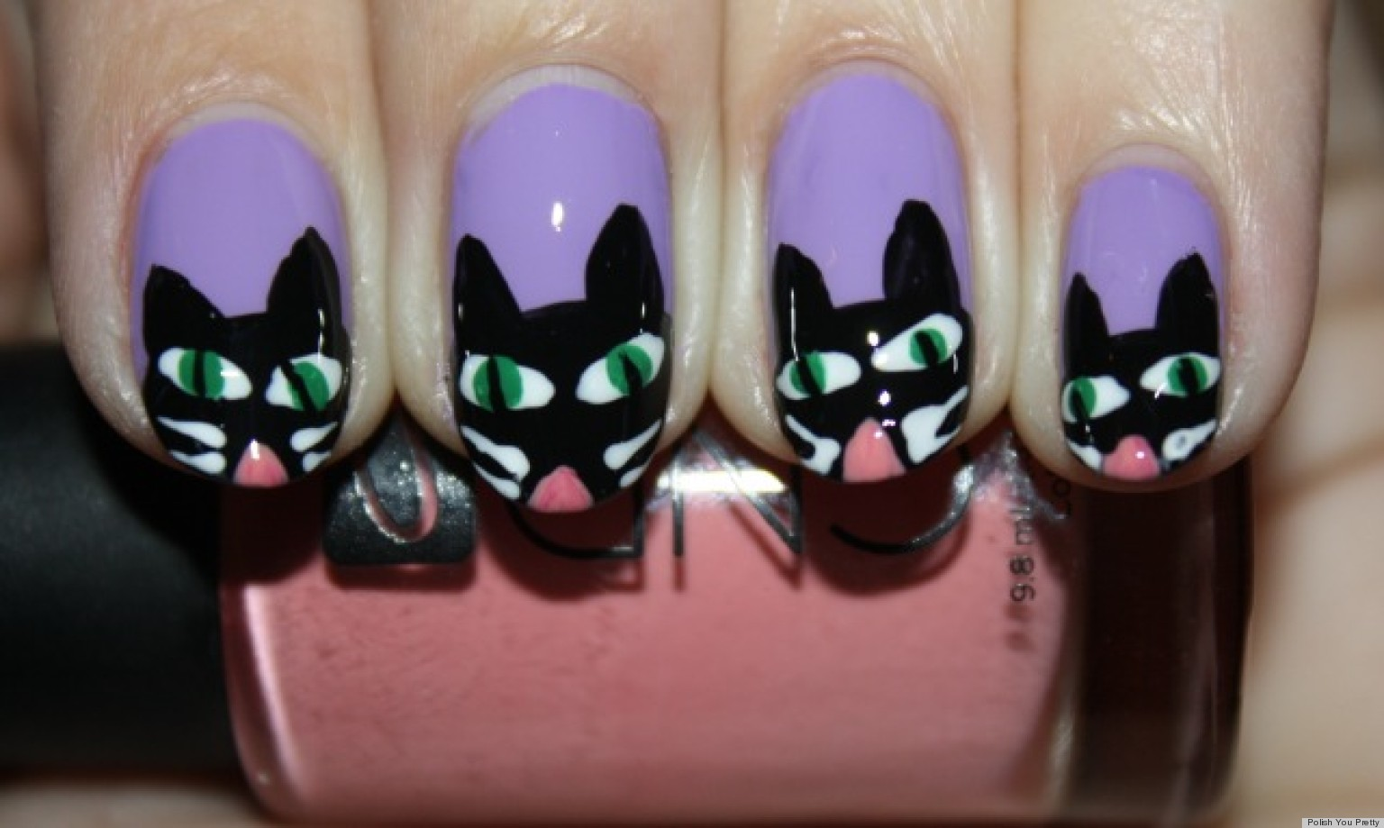 DIY Nail Art: Halloween-Inspired Scaredy Cat Manicure ...