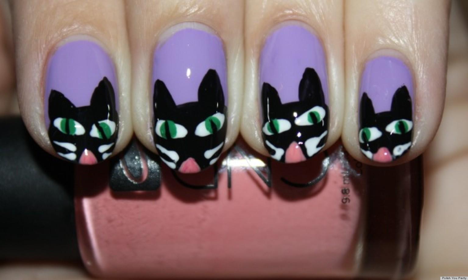 DIY Nail Art: Halloween-Inspired Scaredy Cat Manicure (PHOTO)