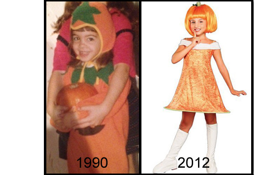 pumpkin halloween costume  sc 1 st  HuffPost & Girlsu0027 Halloween Costumes Then And Now: The Evolution From Silly To ...