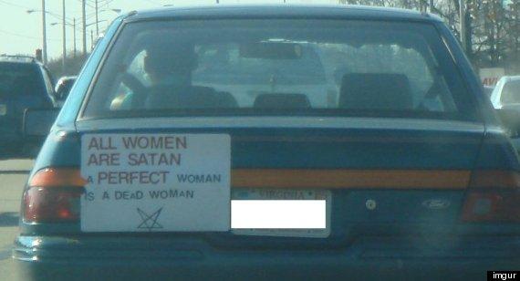 women satan perfect dead car sign virginia