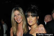 Jennifer Aniston Bares Boobs In Very Risque Dress, Hangs Out With Salma And Cameron