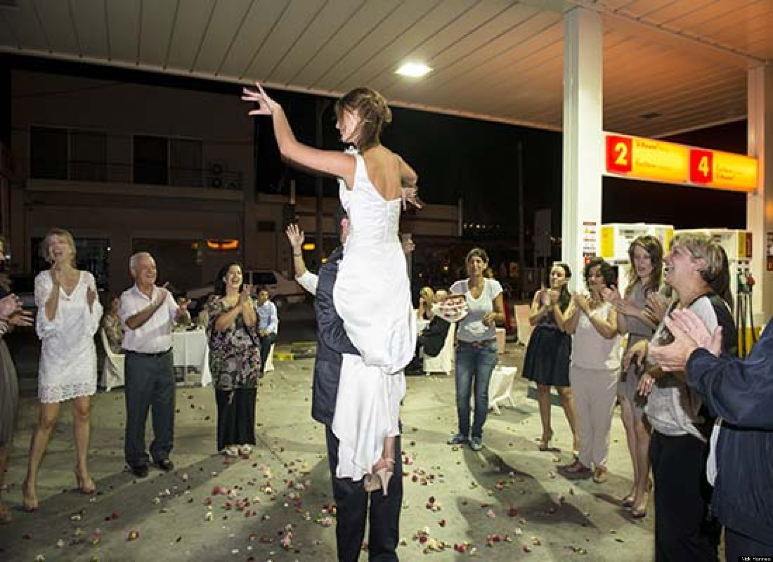 Unusual Wedding Venues Greek Couple Holds Reception At Gas Station