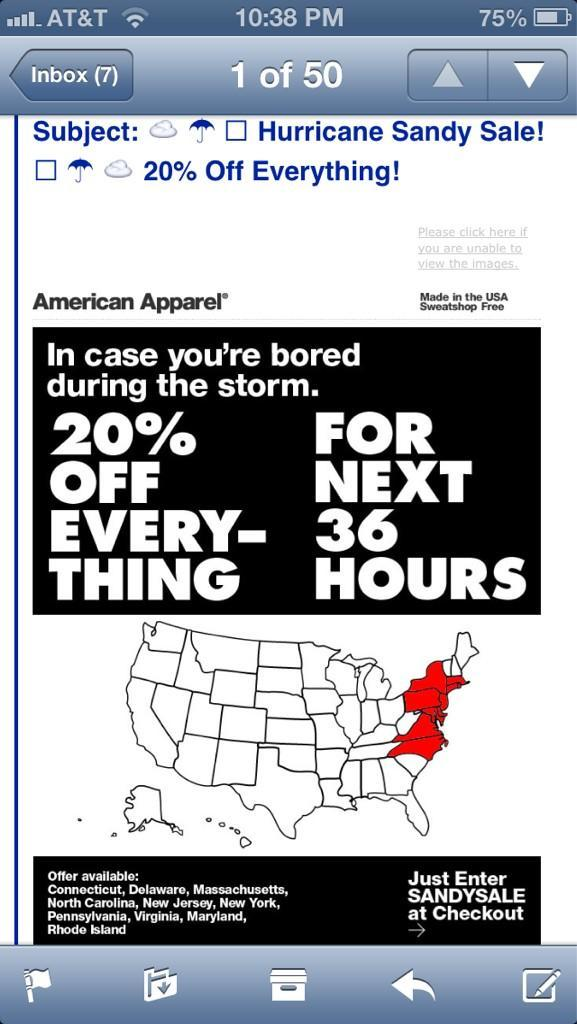hurricane sandy american apparel