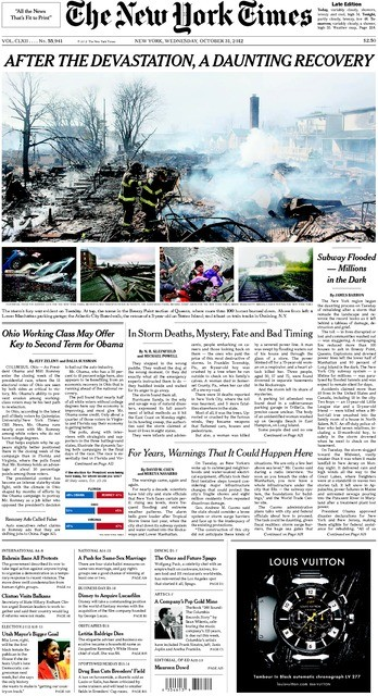 new york times sandy