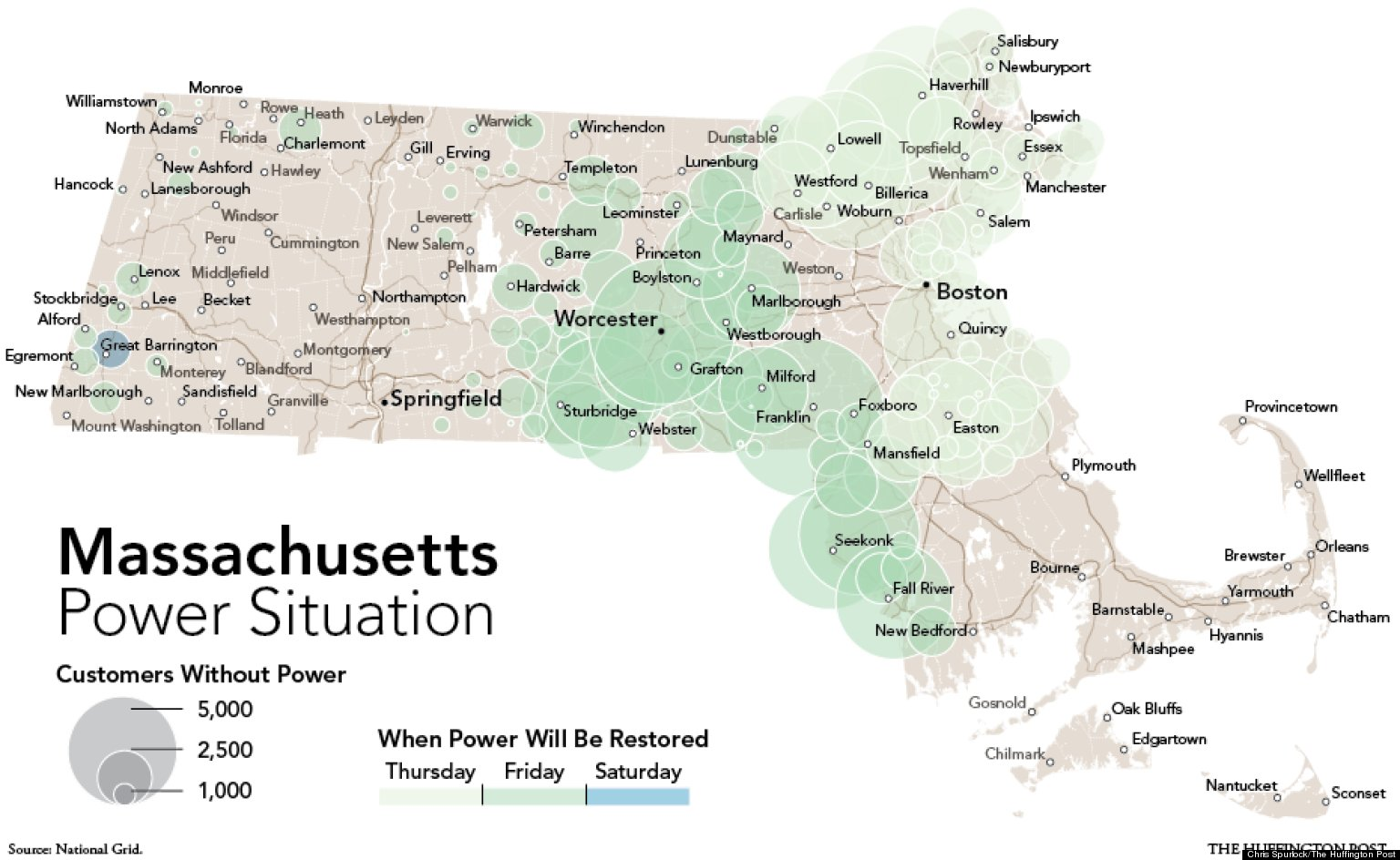 Massachusetts Power Outages Map Hurricane Sandy Leaves