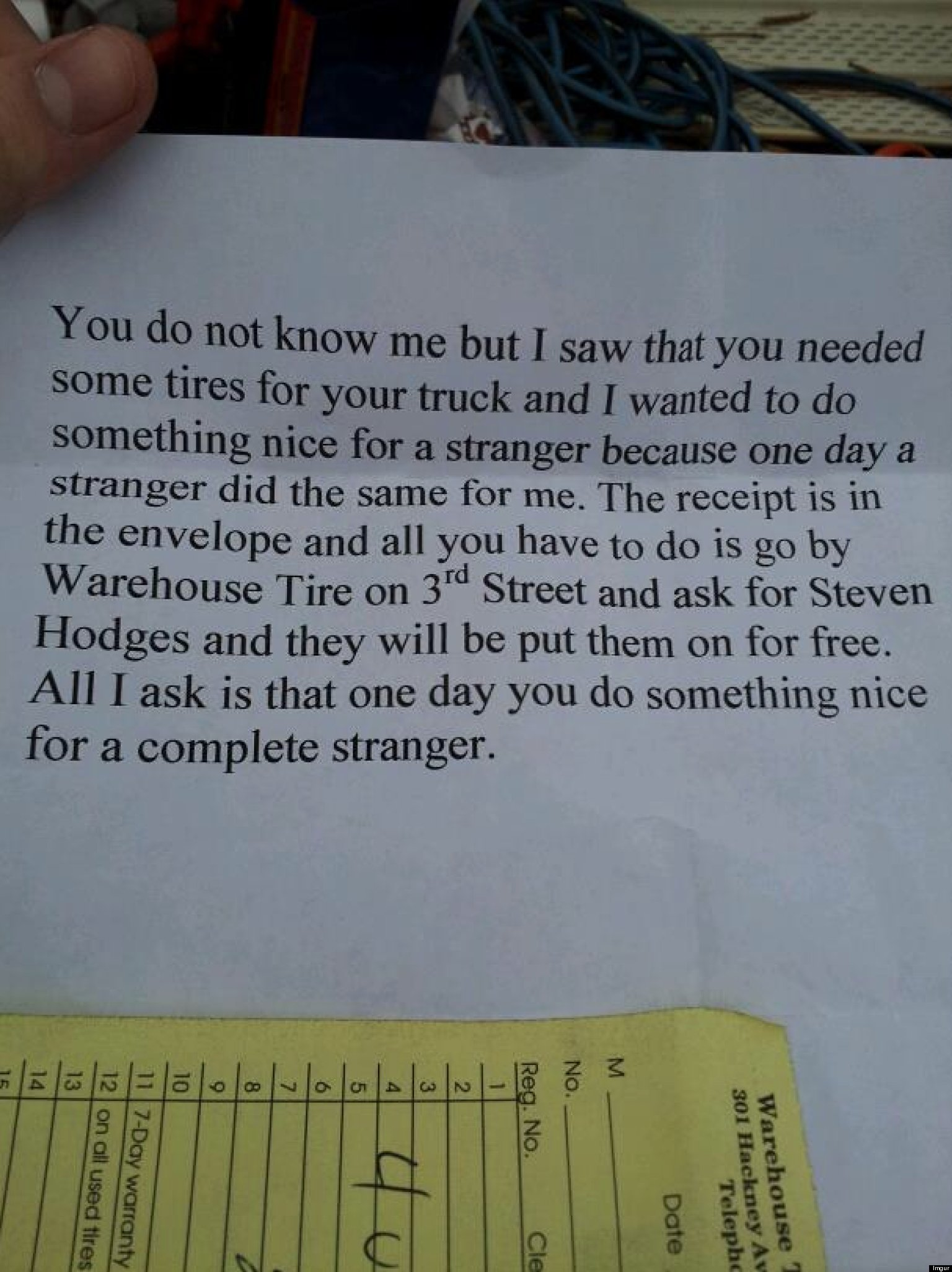 Good Samaritan Gives Stranger Free Tires, Leaves Anonymous Note Stating  Where To Pick Them Up  Huffpost