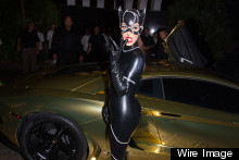 Kim Kardashian Rolls Up To Halloween Party In Gold Lamborghini