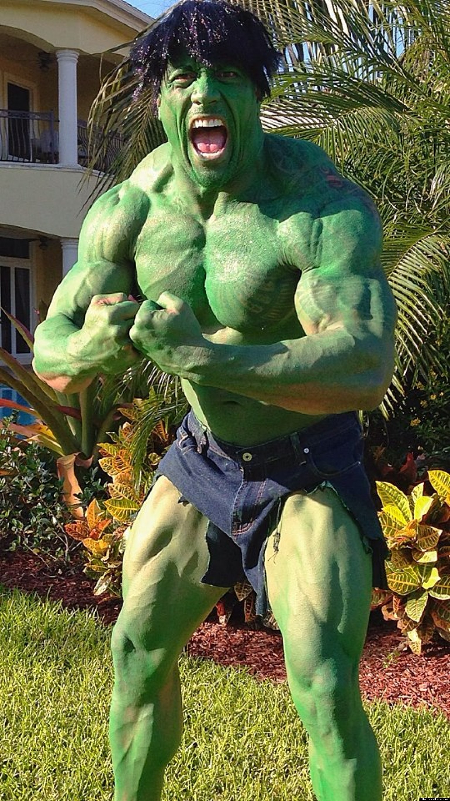 The Rock's Hulk Costume: Dwayne Johnson Dresses As The Hulk For ...