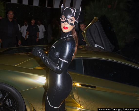 kim kardashian catwoman halloween kanye west