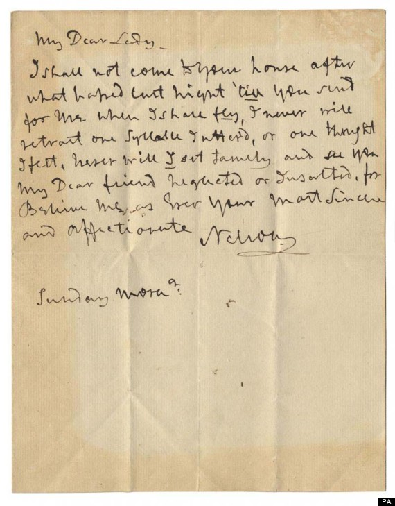 love letter from lord nelson to his mistress lady emma hamiliton