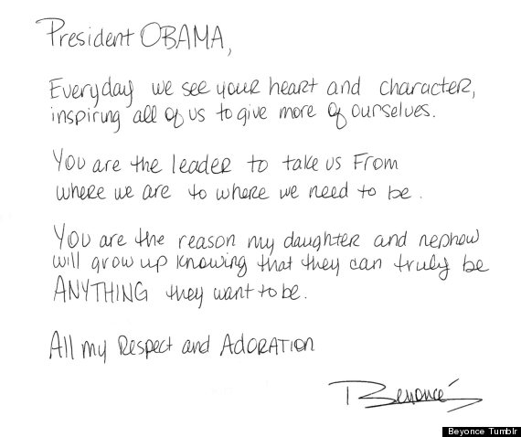 Beyonce S Obama Letter Singer Expresses Support For The President