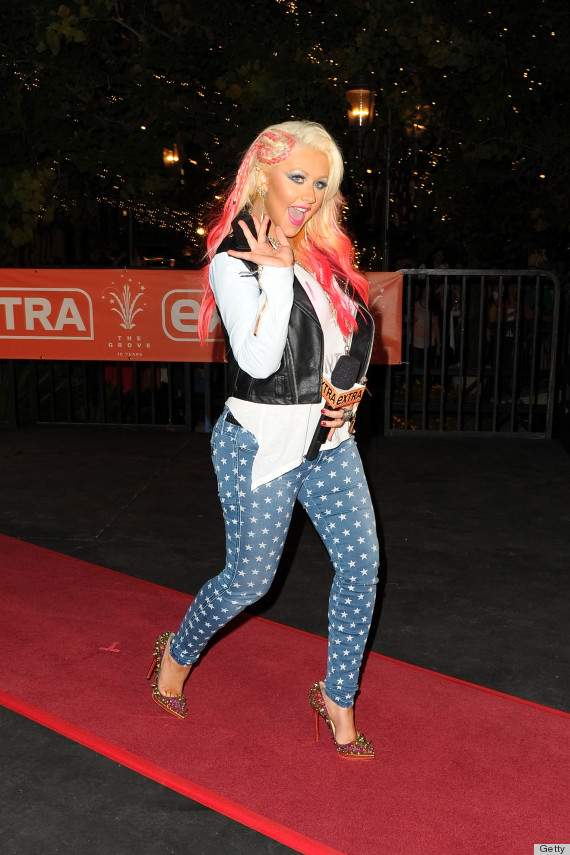 Christina Aguilera Sports Bright Pink Braided Hairstyle