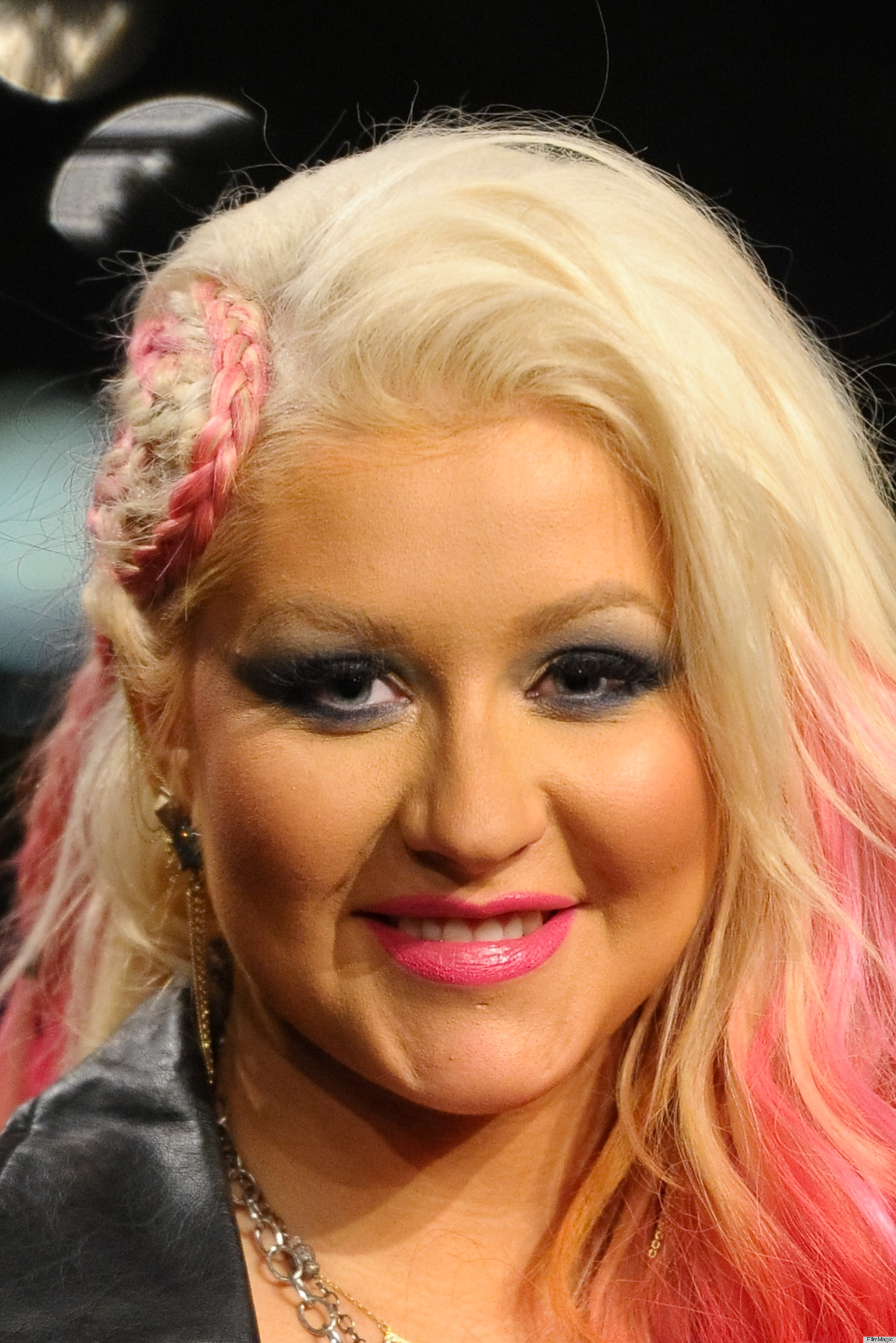 Christina Aguilera Sports Bright Pink Braided Hairstyle ... Christina