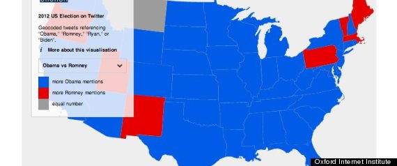 Twitter Map Predicts Presidential Election Will It Be Right - Us map 2012 presidential election