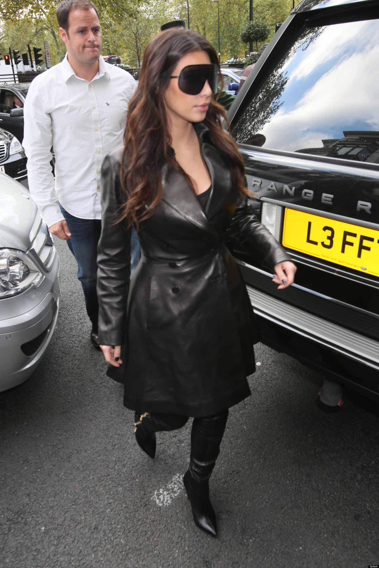 Kim Kardashian Goes Hell For Leather As She Arrives In ...
