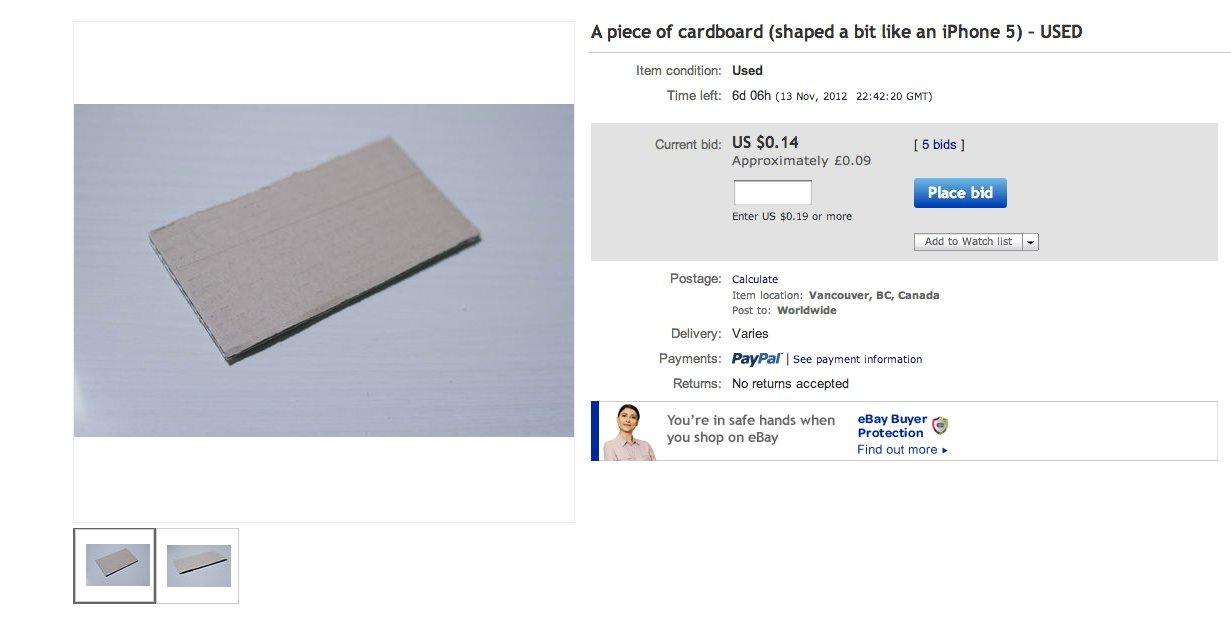 Piece Of Cardboard Garners More Than 300 000 In Bids On Ebay Huffpost Life