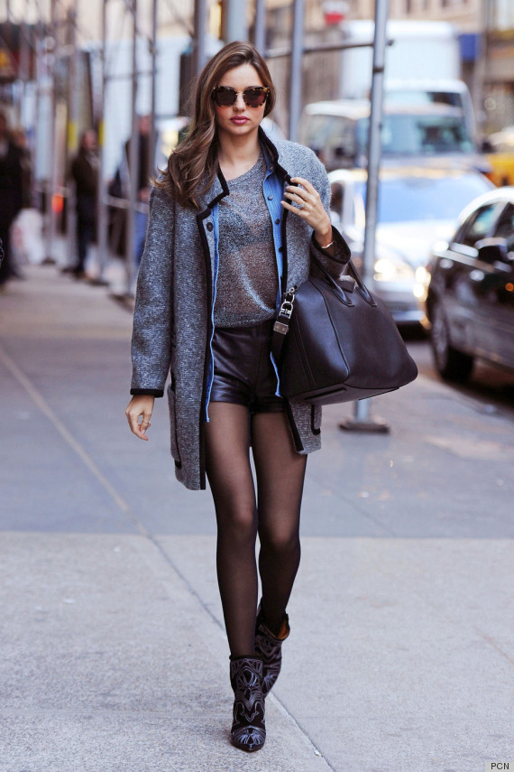 Miranda Kerr 39 S Leather Shorts Are Making Us Chilly Photos