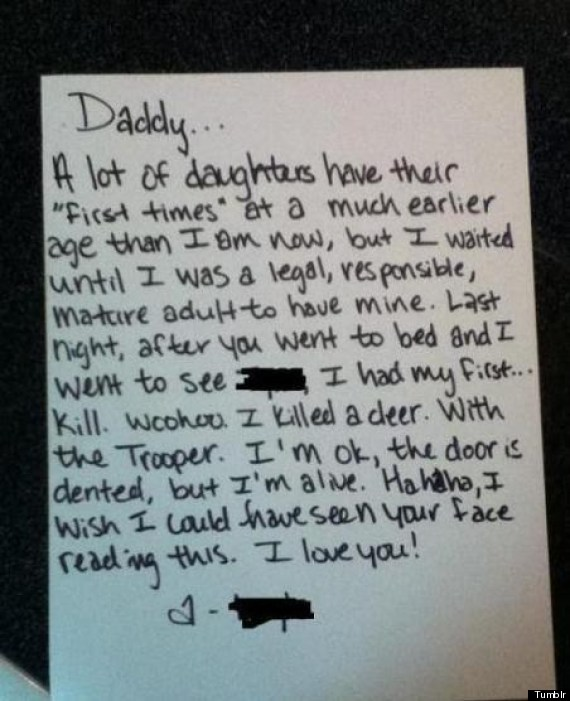 Girls First Time Note Gives Dad The Wrong Idea Photo -1252