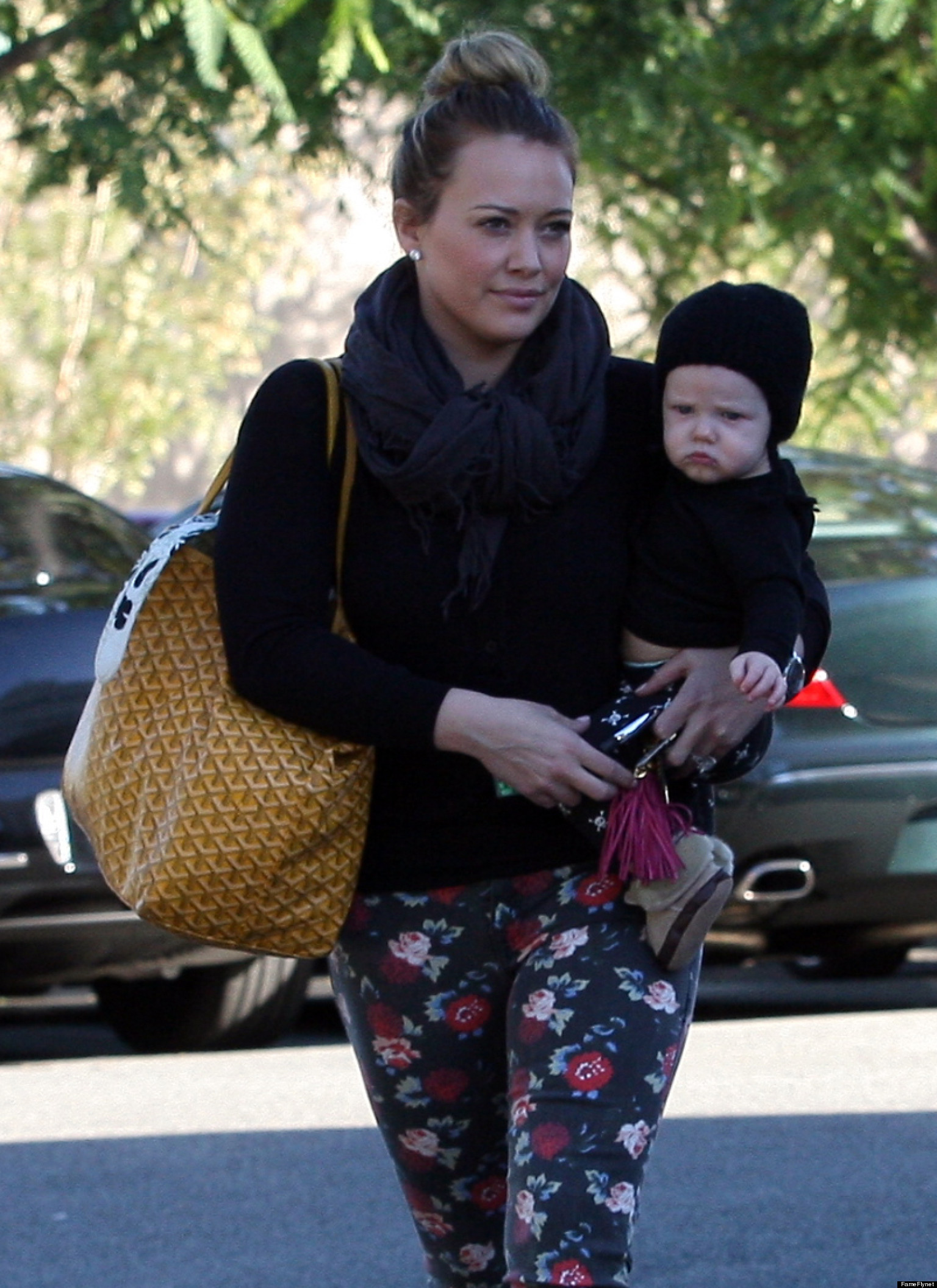 hilary duff baby actress steps out with son luca photo