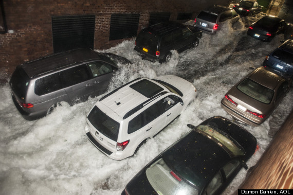 hurricane sandy waterfall cars