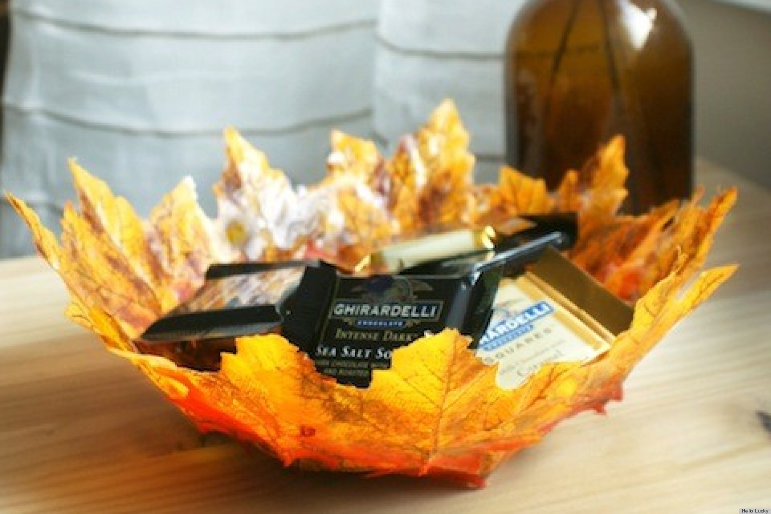 Thanksgiving crafts create autumn leaf bowls huffpost for Leaf crafts for adults