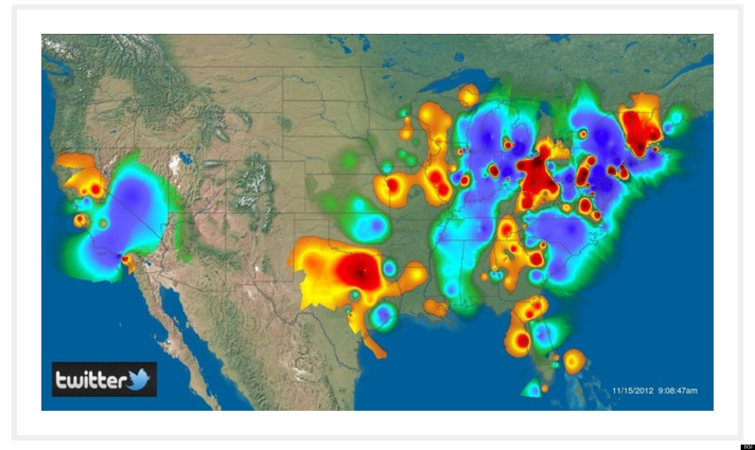 SGI Twitter Heat Map Supercomputer Shows Where Angriest Tweeters - Us heat map