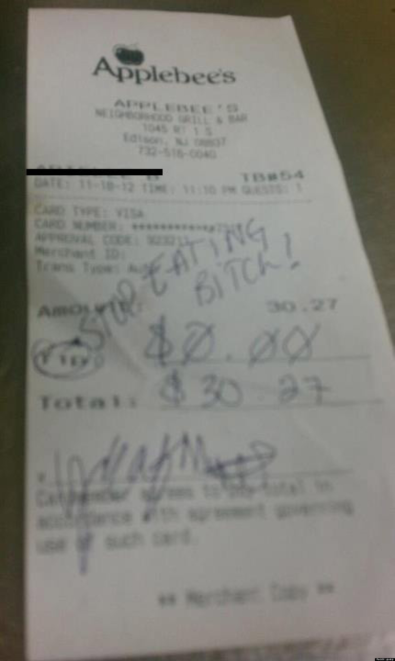 rude applebee 39 s receipt tells waitress to 39 stop eating b tch 39. Black Bedroom Furniture Sets. Home Design Ideas