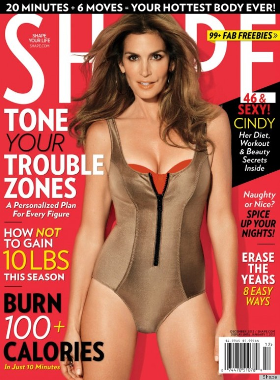 Cindy Crawford Graces Shape Magazine In Gold Swimsuit 20
