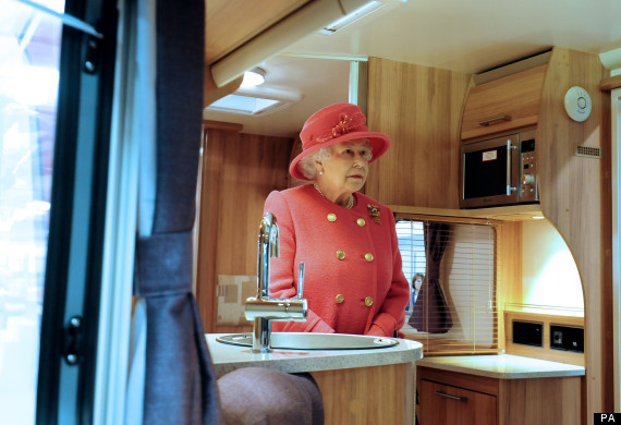 the queen in a caravan