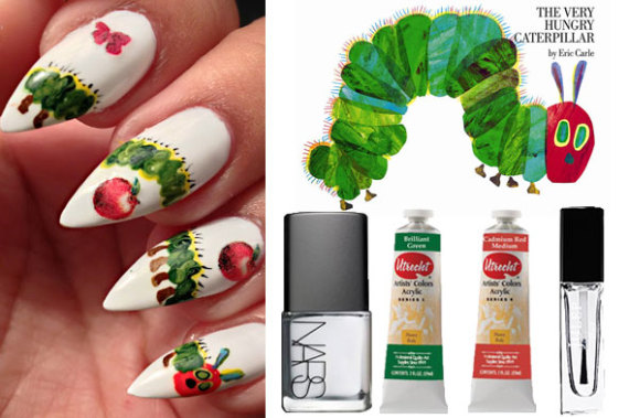 diy nail art the very hungry caterpillar collage