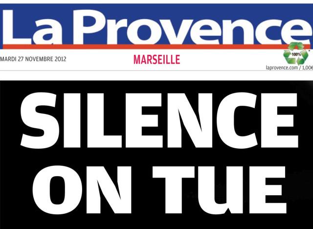 La une de la provence sur marseille silence on tue - Le journal de la provence ...