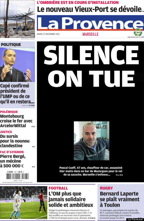 La une de la provence sur marseille silence on tue - Le journal de provence ...