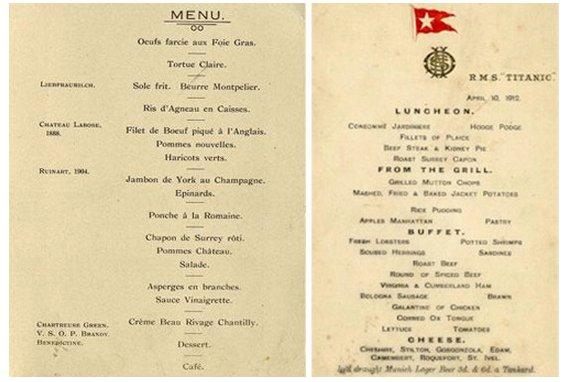 rare titanic menu