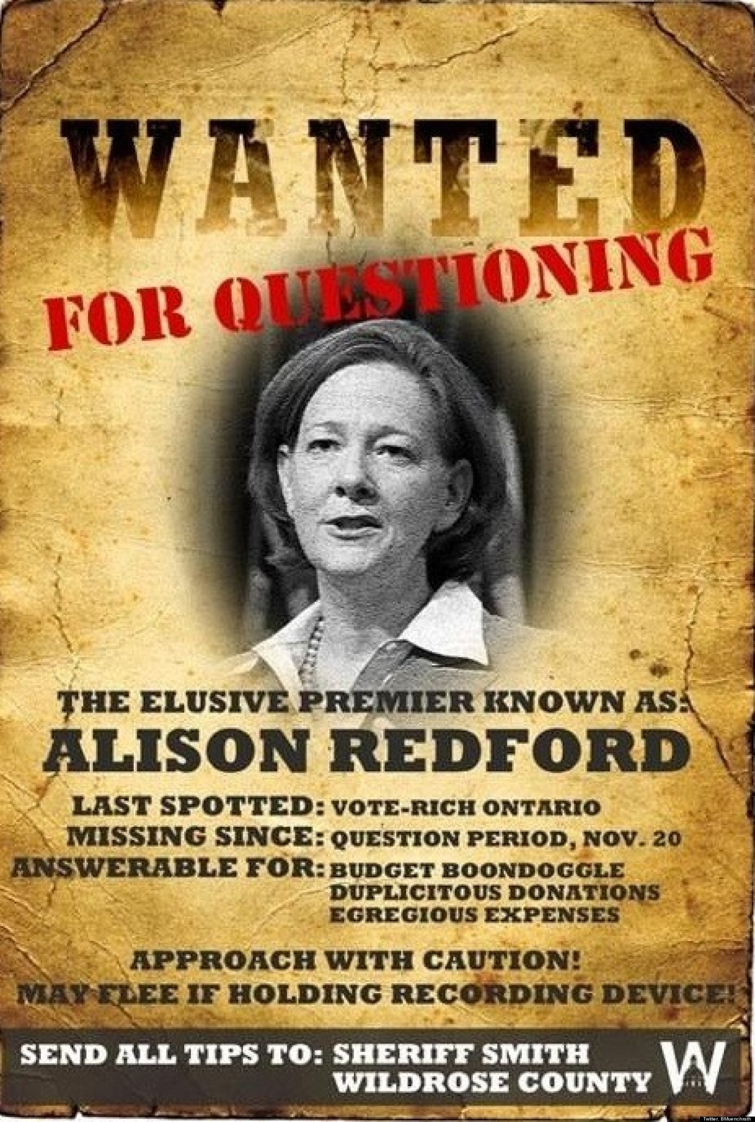 Alison Redford Wanted Poster Alberta Oppositon Puts Out Wanted – Funny Missing Person Poster