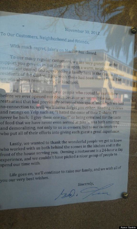 Jakes On Market San Francisco Restaurant Owners Lash Out