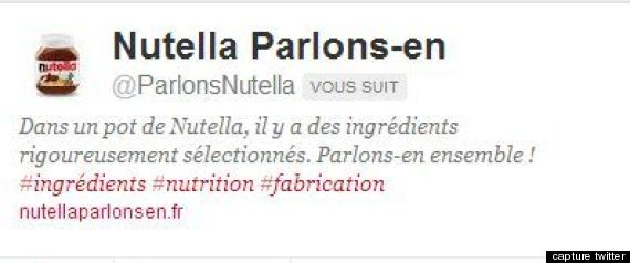 NUTELLA COMPTE TWITTER