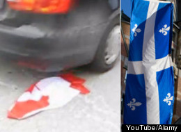 Canadian Flag Run Over Quebec