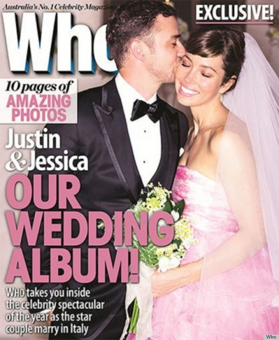 Justin Timberlake Wedding.Jessica Biel Explains That Pink Wedding Dress To Elle Photos
